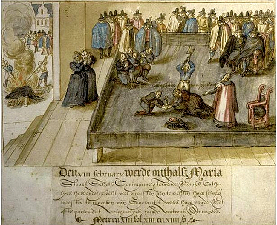 L'exécution de Mary, Queen of Scots le 8 février 1587 à Fotheringhay Castle en Angleterre. Illustration du Scottish National Portrait Museum d'Edimbourg.