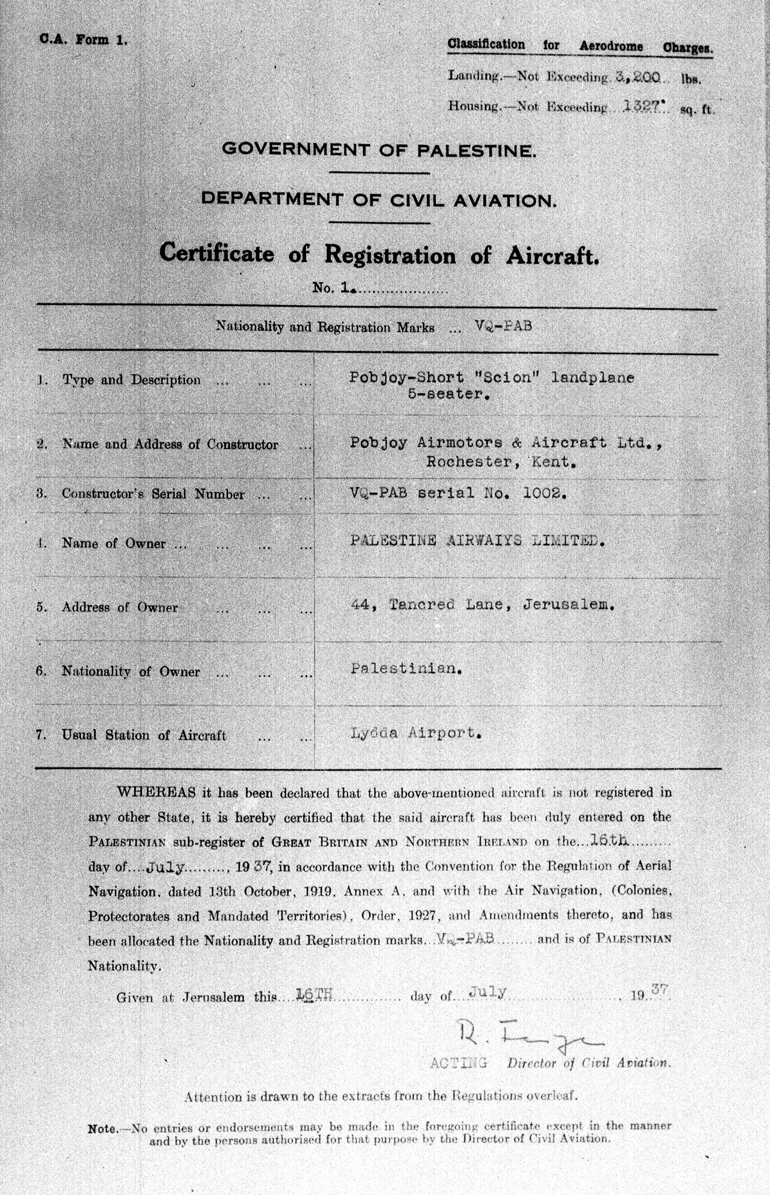 Fileregistration Certificate Of A Pobjoy Short Scionland Plane Of