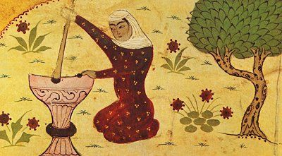 a Sufi saint, grinding grain, 14th century