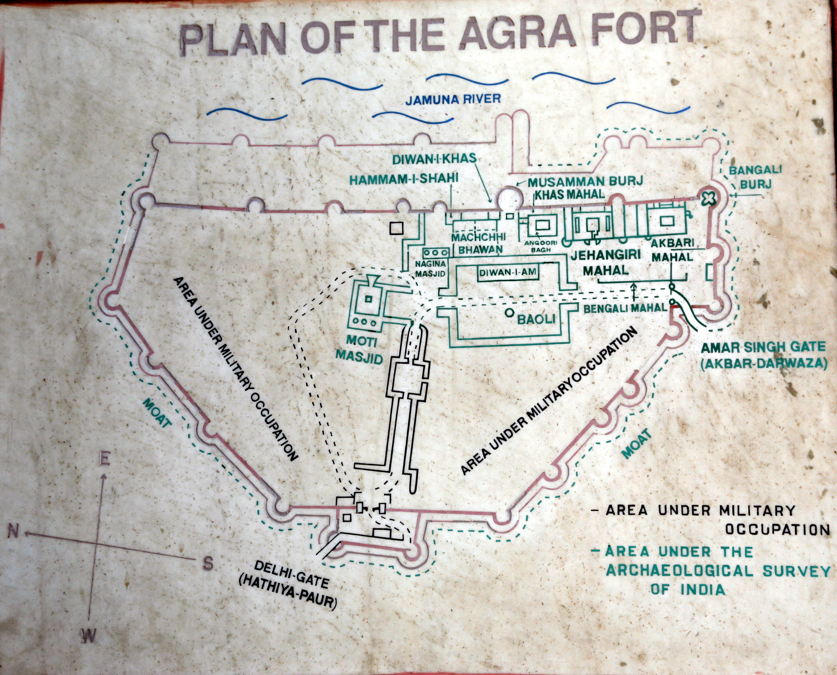 Plan of Agra Fort