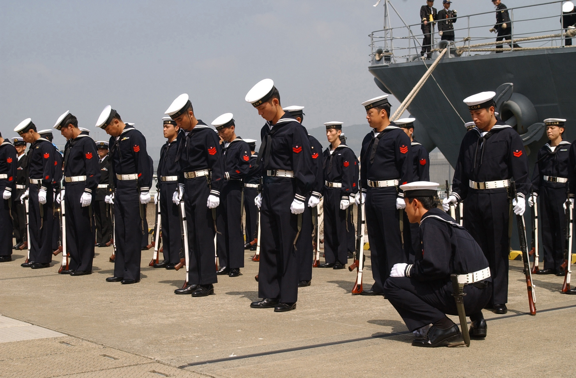 File Sailors Of Jmsdf Line Up In Formation At Sasebo 16
