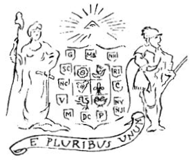 Original 1776 design for the Great Seal by Pierre Eugene du Simitiere. The shields with 13 initials of the colonies surrounding symbols for the six origin nations England (rose), Scotland (thistle), Ireland (harp), Holland (lion), France (fleur-de-lis), and Germany (eagle) linked together with motto. SealOfTheUS Prototype.png
