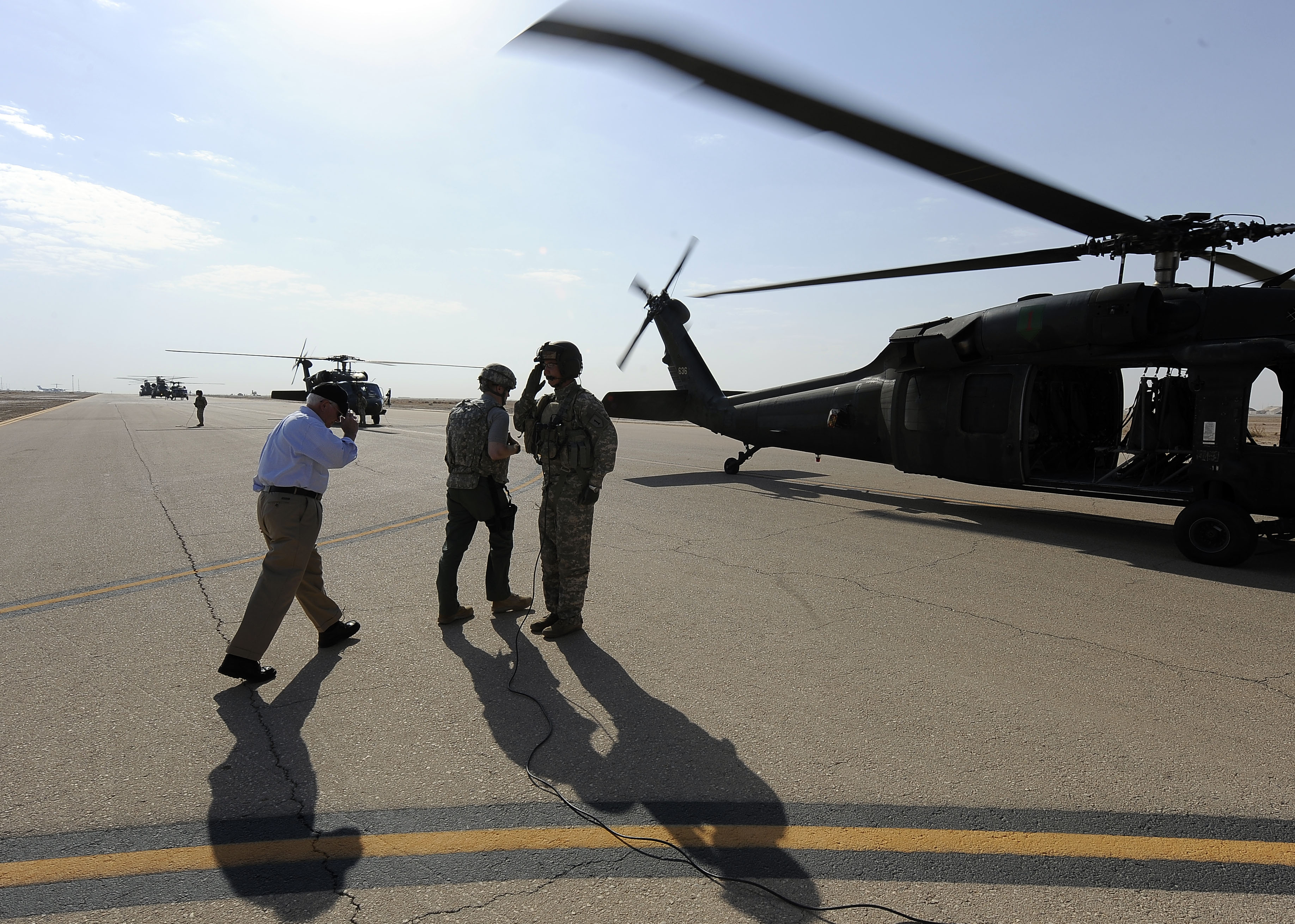 Army uh 60 black hawk helicopter at al asad airbase iraq sept 1