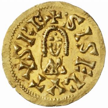 Tremis de oro acuñado en Sevilla durante el reinado del rey Sisebuto.
