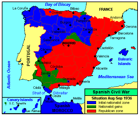 Beskrywing spanish civil war august september 1936
