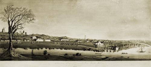 StateLibQld 2 305410 Image of a watercolour painting of Moreton Bay Settlement New South Wales in 1835