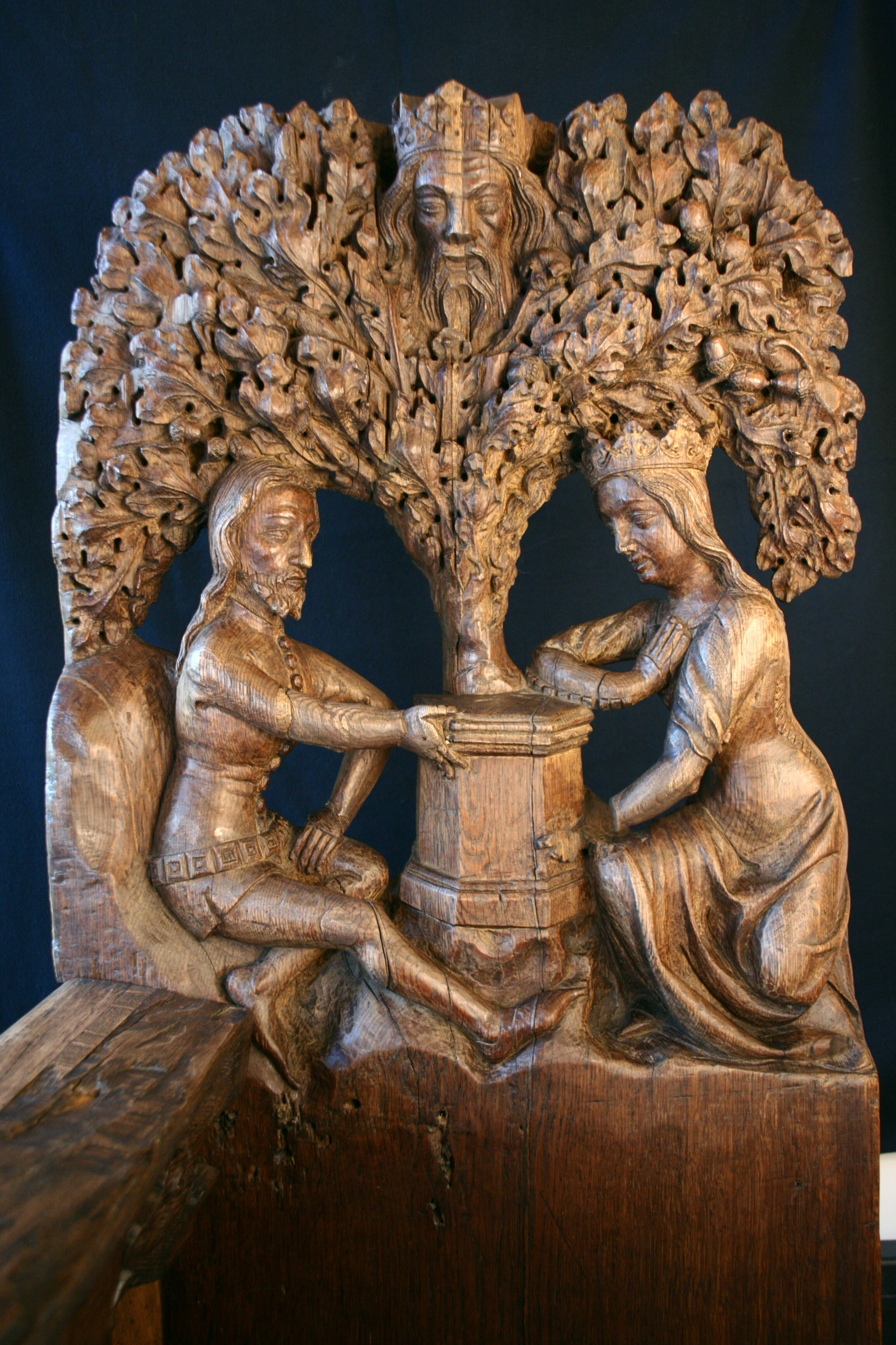 Tristan and Iseult. Carved bench end in Tallinn Town Hall, 14th century.jpg