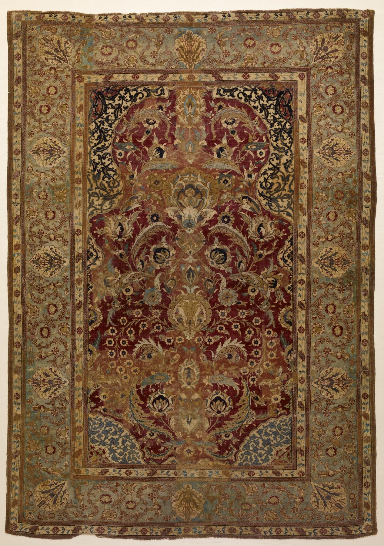 file turkish prayer rug with floral and ornamental designs walters