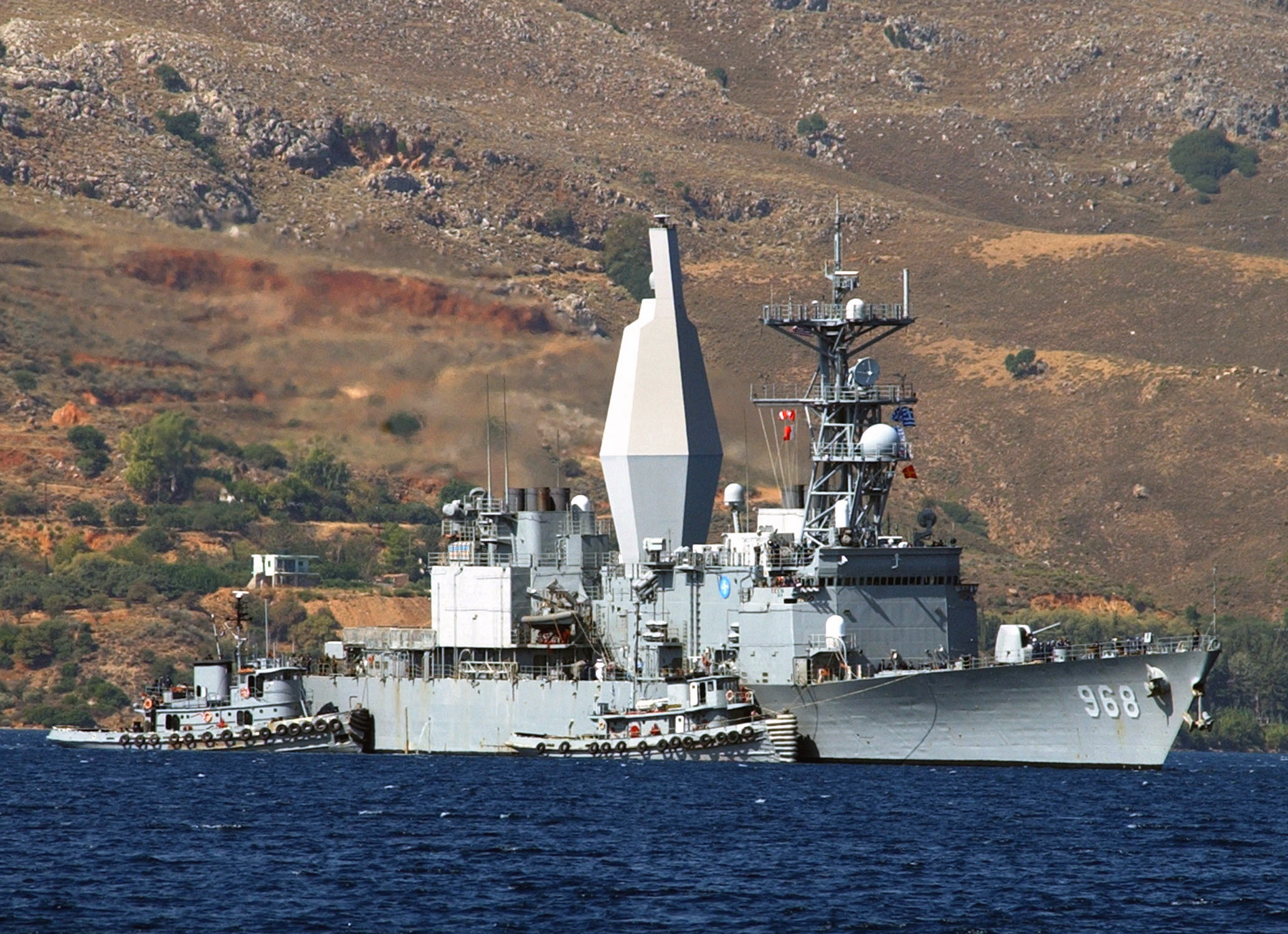 USS ARTHUR W. RADFORD (DD 968) arrives at Crete