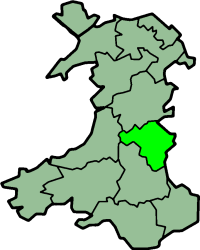 Situation of Radnorshire within Wales