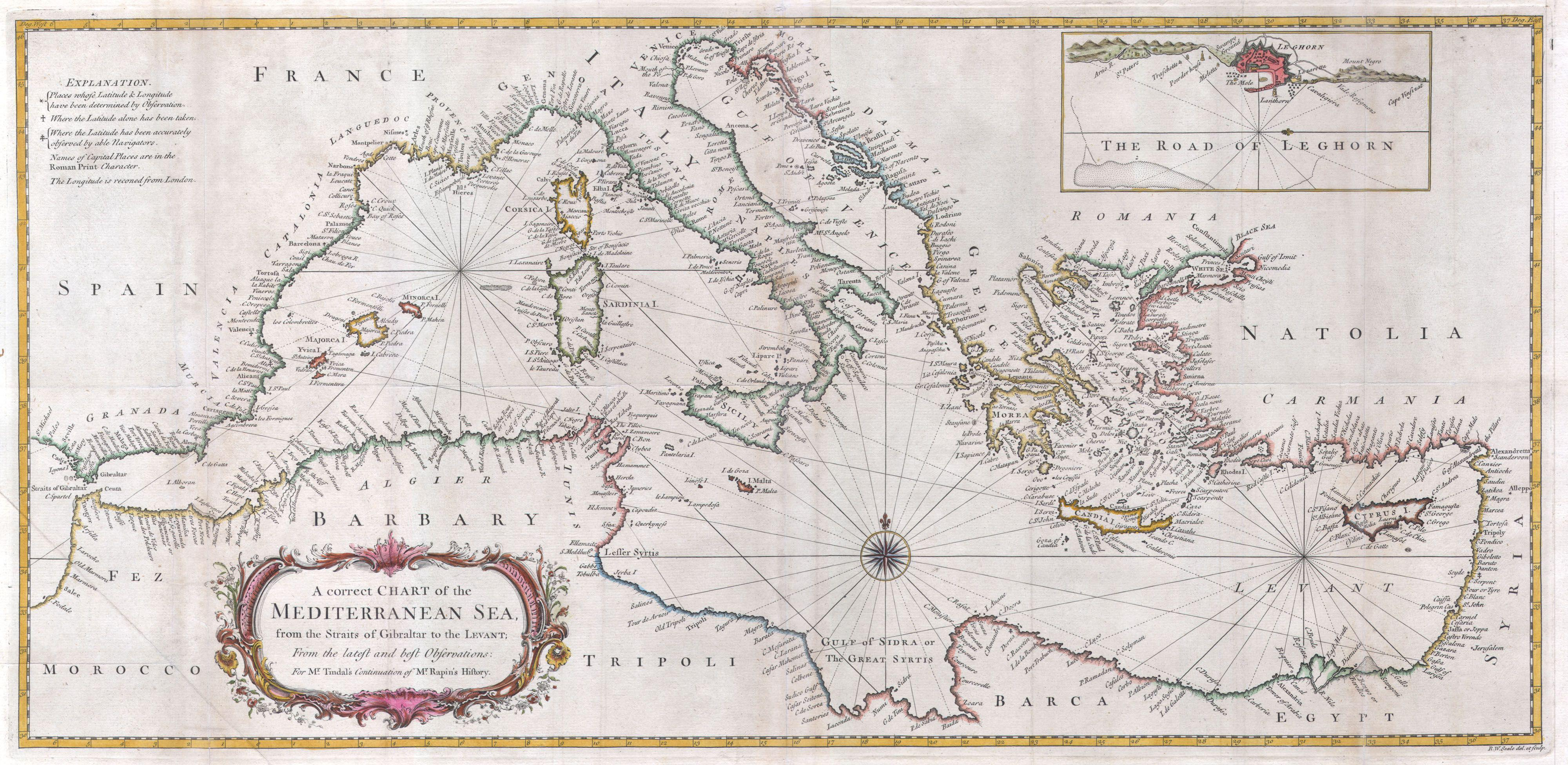 Sea Chart: 1745 Seale Map or Chart of the Mediterranean Sea ,Chart