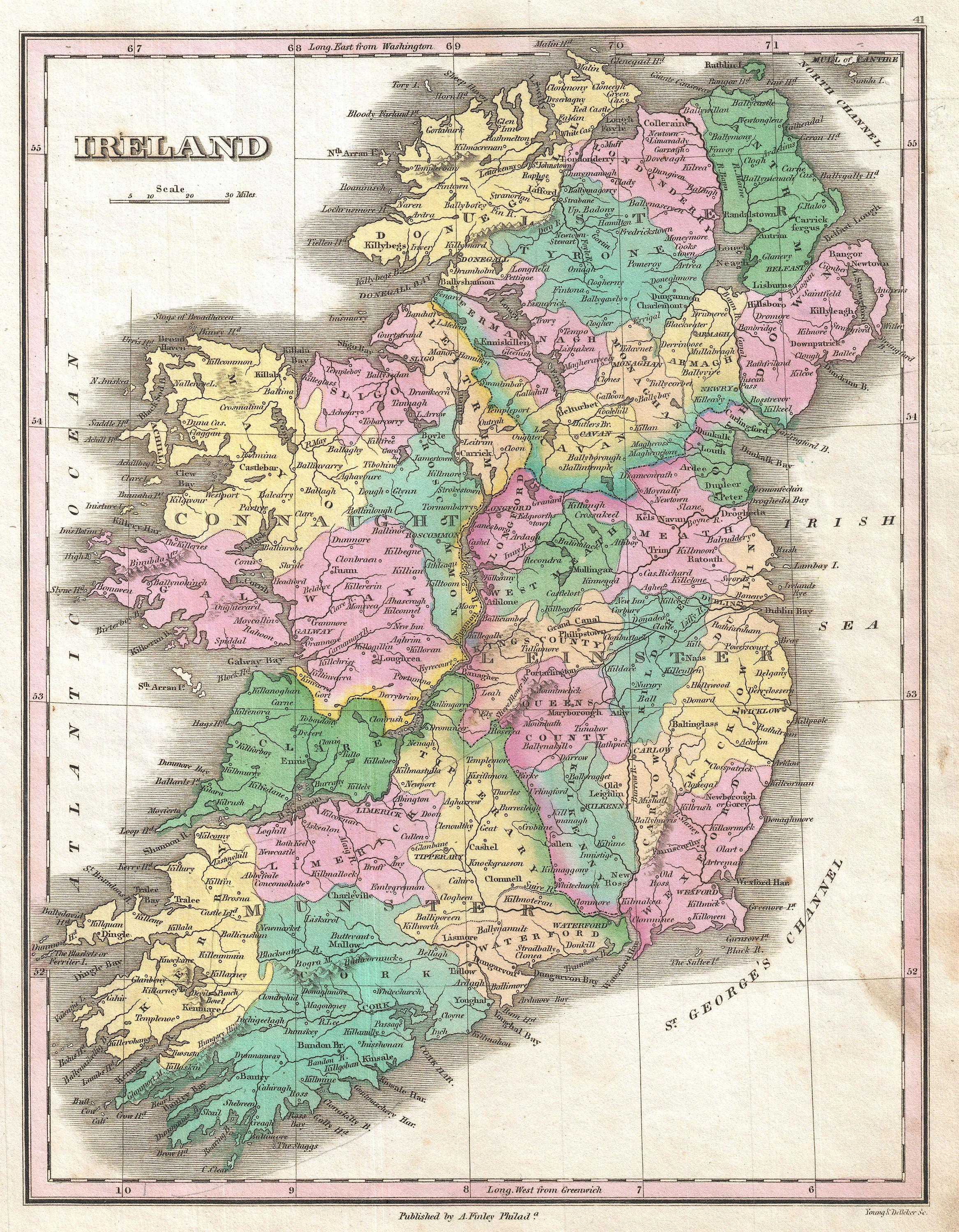 Full Map Of Ireland.File 1827 Finley Map Of Ireland Geographicus Ireland Finley 1827