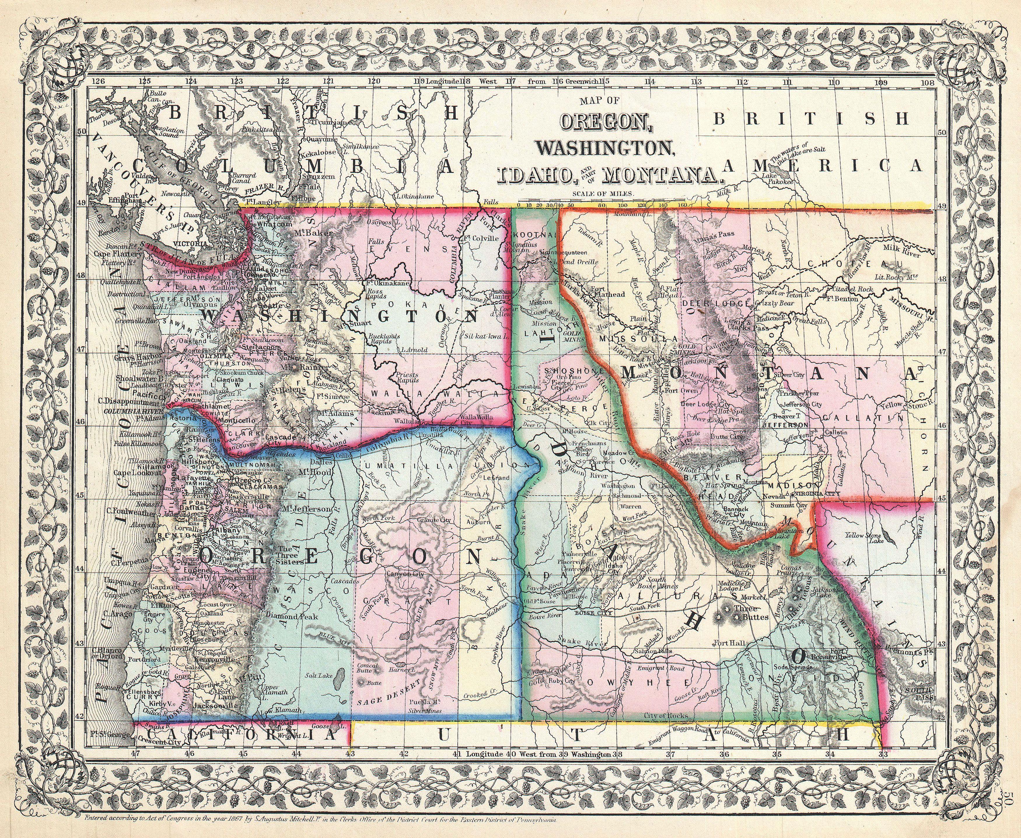 Idaho Montana Washington Map