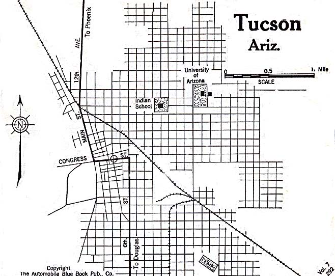 picture about Printable Map of Tucson Az identify History:1920 map Tucson, Arizona Auto Blue Guide.jpg