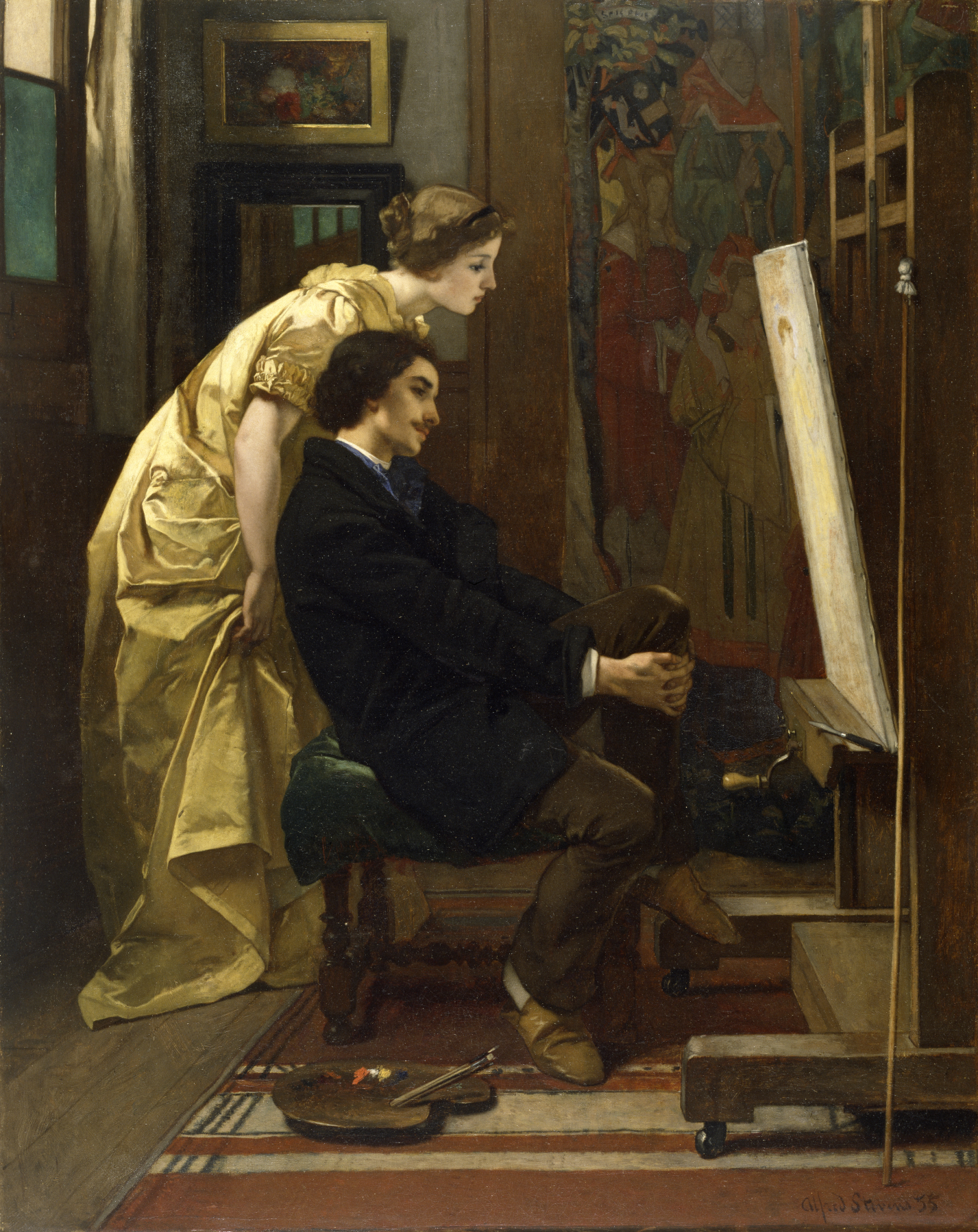File:Alfred Stevens - The Painter and His Model - Walters ...