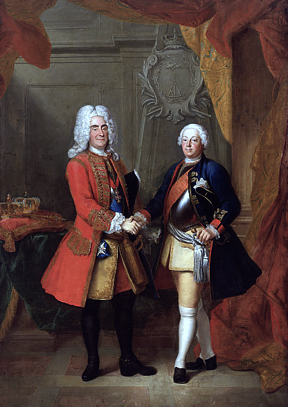 Portrait of Augustus II of Poland (left) and Frederick William I of Prussia (right), during Frederick William's 1728 visit to Dresden. Painting by Louis de Silvestre, about 1730 August II of Poland and Friedrich Wilhelm I of Prussia.PNG