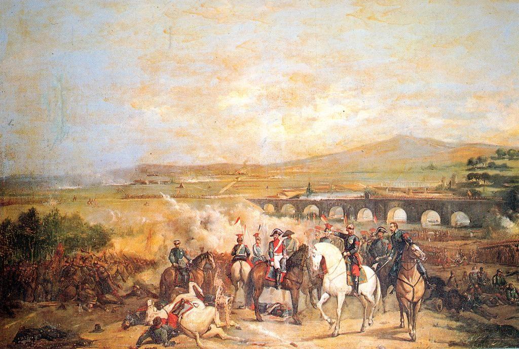 Batalla de Alcolea. Cuadro de autor anónimo, pintado hacie 1869.