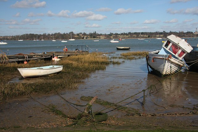 Boats moored at Pin Mill - geograph.org.uk - 721297