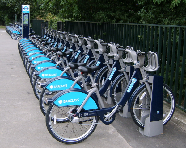 A rack full of Boris Bikes, waiting for action!