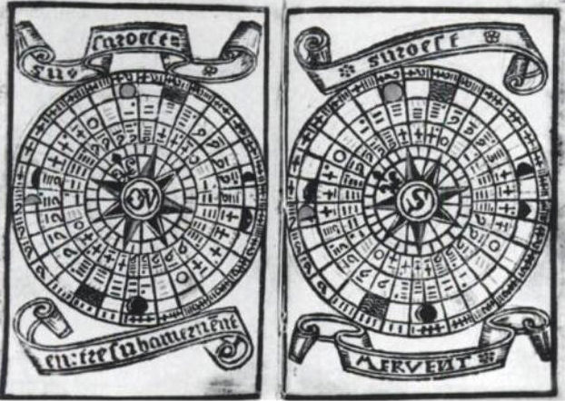 Fichier: Brouscon Almanach 1546 diagrammes de marée en fonction de l'âge de la Moon.jpg