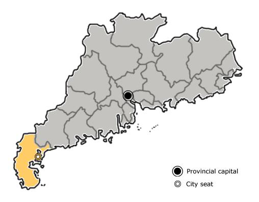 Zhanjiang at Map of Canton