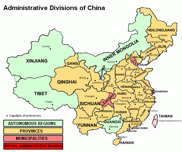 中華人民共和国の行政区分図