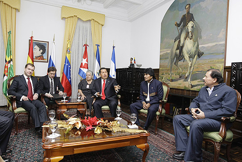 English: CARACAS. With the leaders of the Boli...