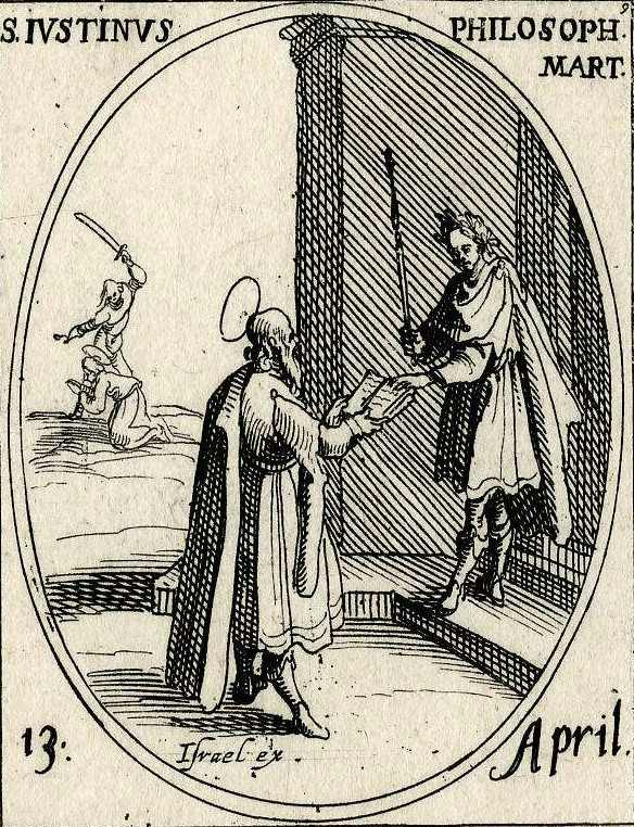 A bearded Justin Martyr presenting an open book to a Roman emperor. Engraving by Jacques Callot. Engraving of Justin Martyr - 2.jpg