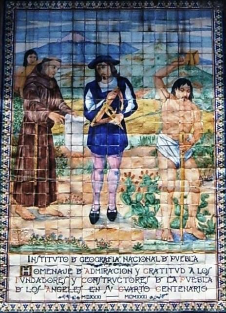 Representación en talavera de la fundación de Puebla
