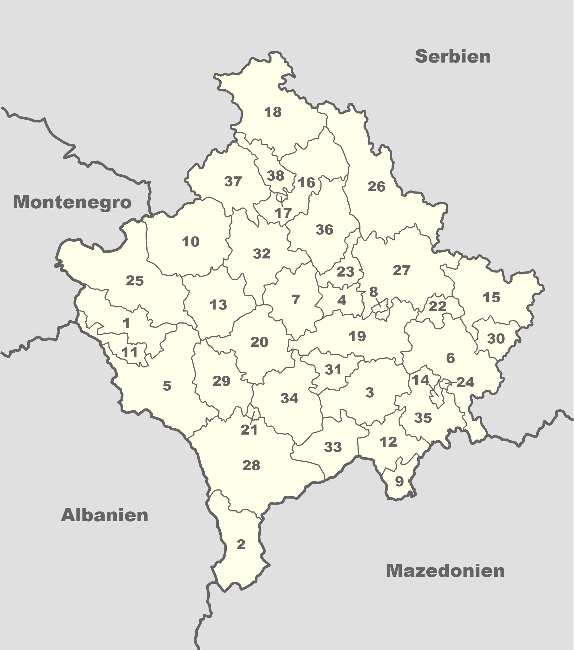 Gliederung der Republik Kosovo seit 2008: 38 Großgemeinden (Nummern siehe Tabelle)