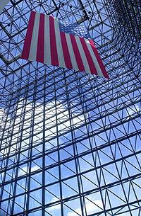 JFK Library Pavillion %26 flag.jpg