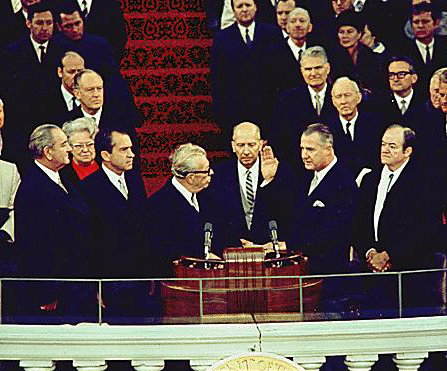 Four vice presidents: (from left) outgoing president Lyndon B. Johnson (the 37th vice president), incoming president Richard Nixon (36th), (Everett Dirksen administering oath), incoming vice president Spiro Agnew (39th), and outgoing vice president Hubert Humphrey (38th), January 20, 1969 Johnson, Nixon, Agnew, Humphrey cropped.jpg