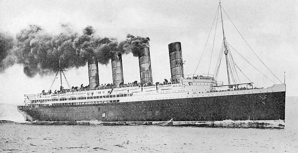 Lusitania with steam up on