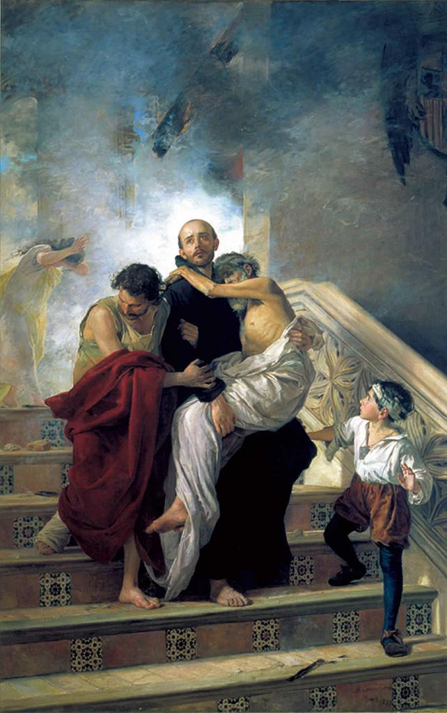 Manuel Gómez-Moreno González: Den hellige Johannes av Gud redder de syke fra en brann på det kongelige hospitalet i 1549 (1880)