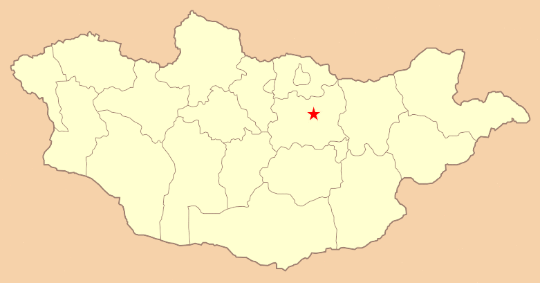 Ulaanbaatar, Mongolia labelled with a red star