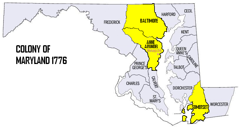 File:Map of maryland counties Baltimore,AA,Somerset (4th RGT ...