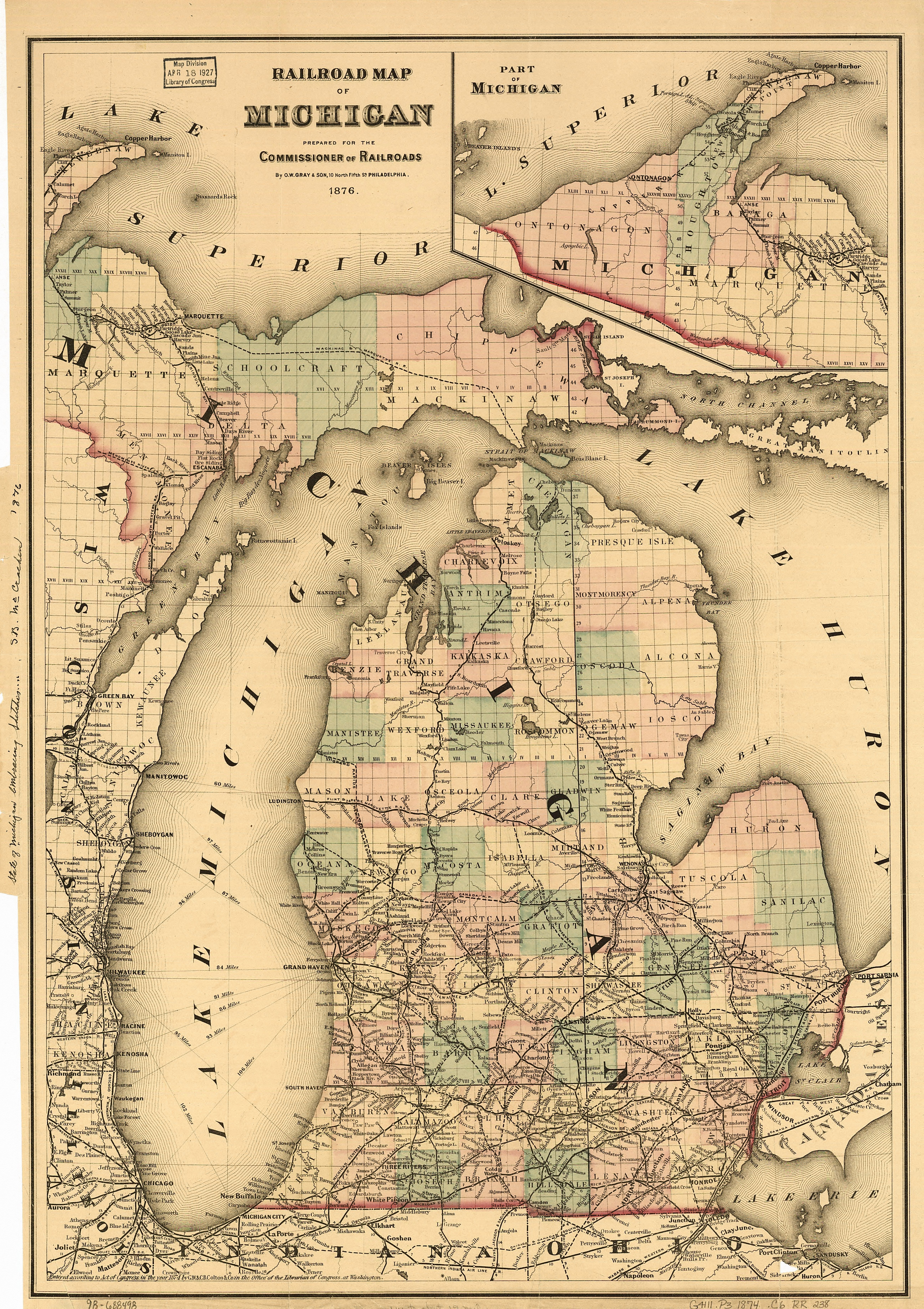 Michigan Map Plus Canada History of railroads in Michigan   Wikipedia