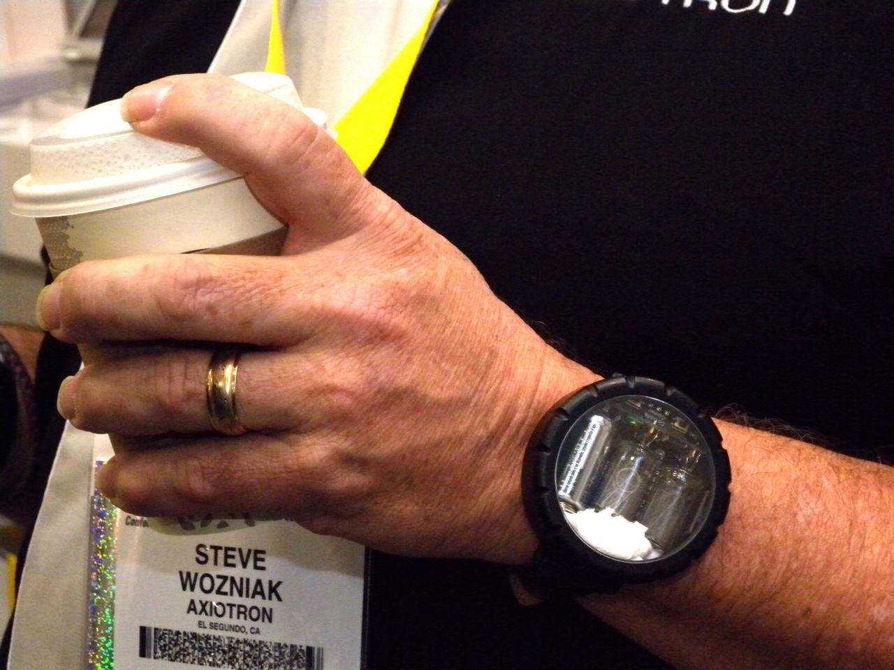A Nixie watch on the wrist of Steve Wozniak, co-founder of Apple Inc.