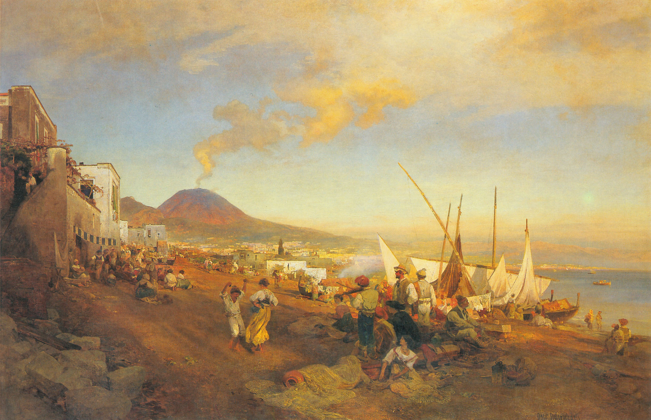 the beach in Naples a 19th century painting by Oswald Achenbach