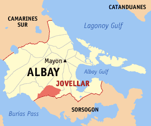 Map of Albay showing the location of Jovellar