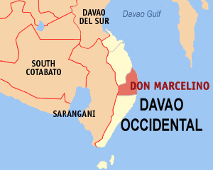 Map of Davao Occidental showing the location of Don Marcelino