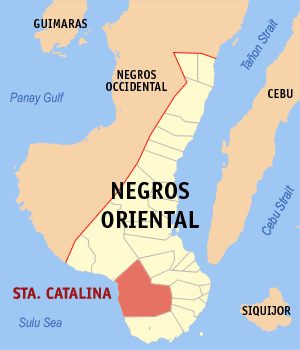 Map of Negros Oriental showing the location of Santa Catalina