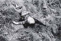A child killed during the Phong Nhi and Phong Nhat massacre. Photo by Corporal J. Vaughn, Delta-2 Platoon, U.S. Marine. Phong Nhi massacre 2.jpg