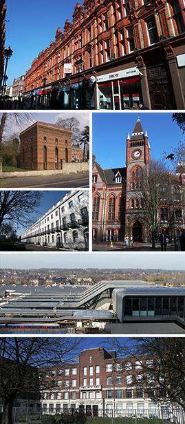Top Image: Queen Victoria Street, Middle Three: Bath Road Reservoir, London Road & Reading Town Hall, Bottom Two: Reading Railway Station & Reading College