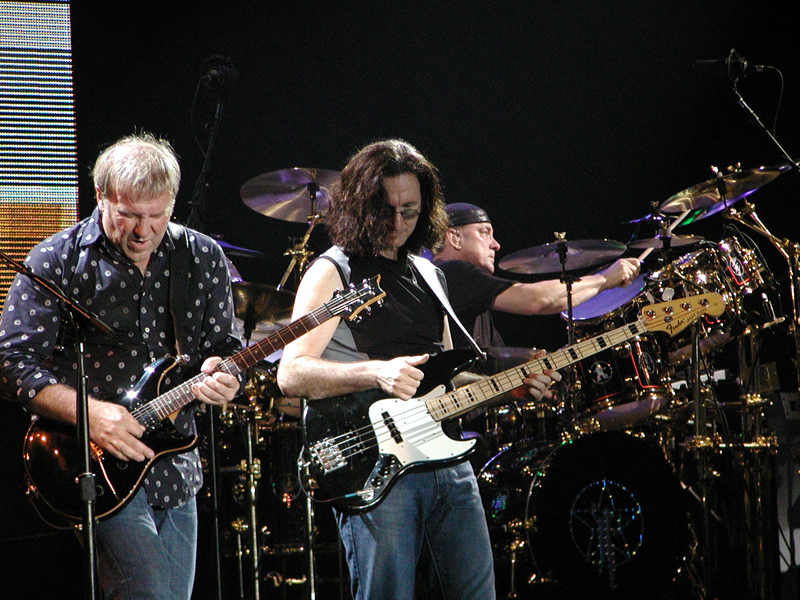 Rush in concert.  Not pictured:  choir of angels known to appear during particularly enthusiastic performances of