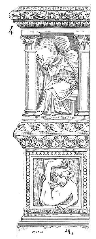 Schizzo di un bassorilievo con uno sciapode (in basso), cattedrale di Saint-Étienne a Sens