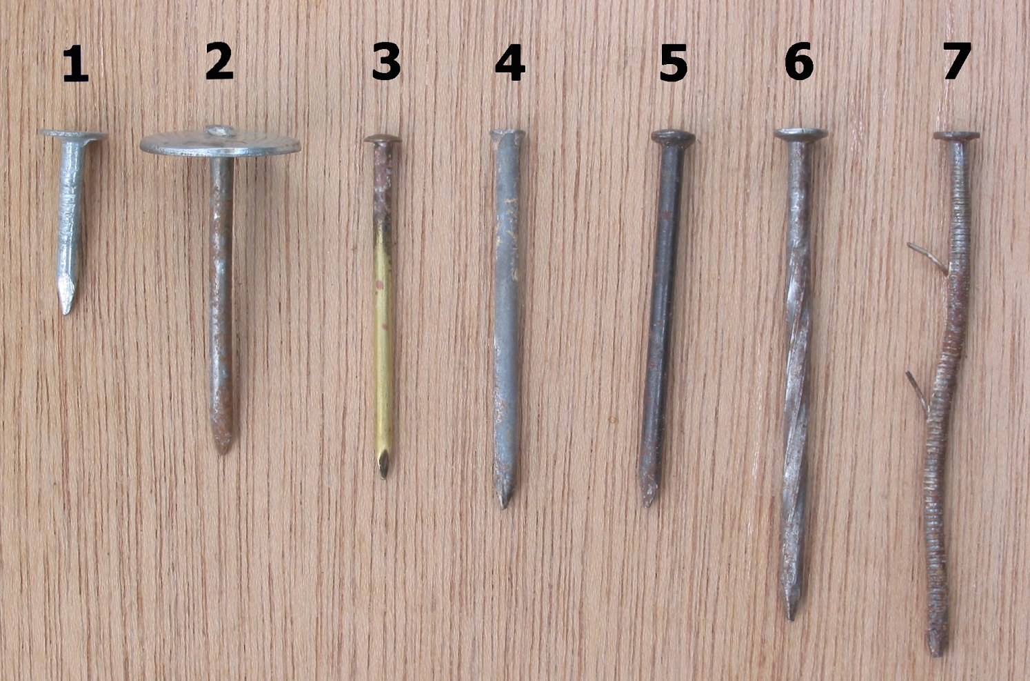 Different types of nails: 1) Roofing nail, 2) Umbrella head roofing nail, 3) Brass escutcheon pin, 4) Finish nail, 5) Concrete nail, 6) Spiral-shank nail, and 7) Ring-shank nail (the barbs are a leftover component of the feed system of a nail gun)
