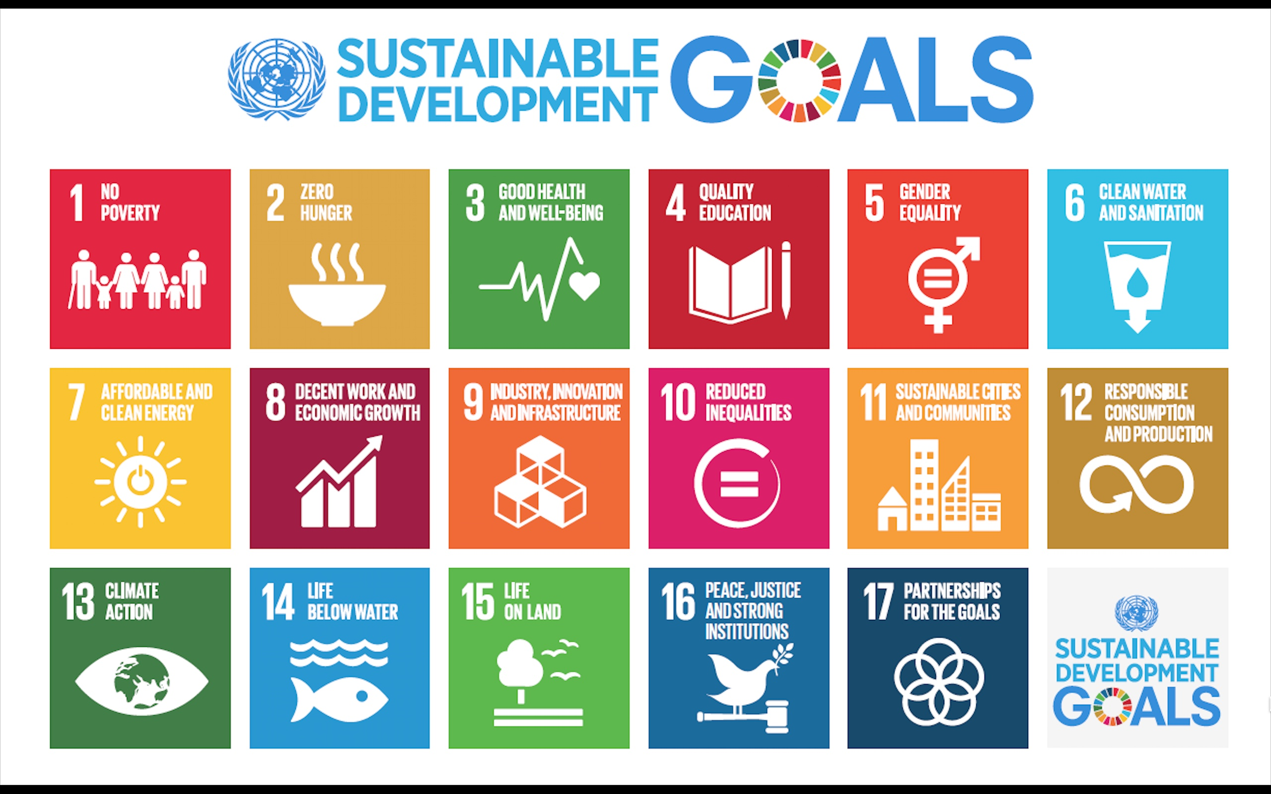 17 Sustainable Goals for Sustainable Development on the 2030 Agenda