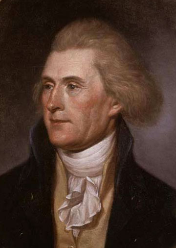 Thomas Jefferson, painted by Charles Willson Peale. Philadelphia, 1791.