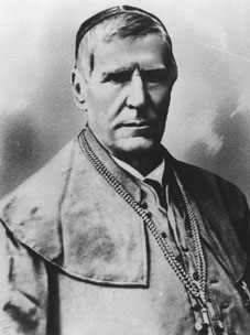 Bishop Motiejus Valancius resisted Russification. He urged to protest against the closing of Catholic temples and organised book printing in Lithuanian in Lithuania Minor Valancius.jpg